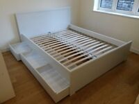 Ikea white double bed with storage drawers - no mattress