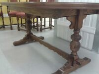 Carved dining table,solid oak,extendable,165-205cm,genuine Old Charm,no chairs