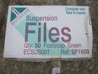 Suspension files - box of 50 with tabs, foolscap, green, new in box
