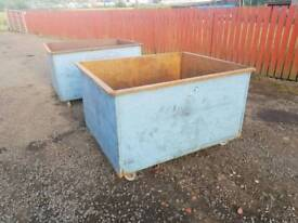 Metal stillage box skip with casters direct from fabrication company ideal for burning In