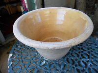 Unusual vintage earthenware cream bowl, wide rimmed and an ideal, lovely decorative planter pot