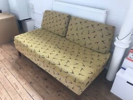 Vintage 1950's Sofa / Day Bed in yellow & black printed fabric