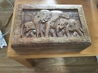 Elephant carved wooden box