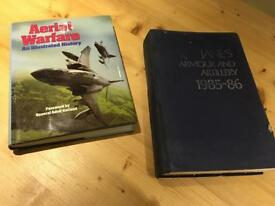 Aerial warfare & Janes armour and artillery books.