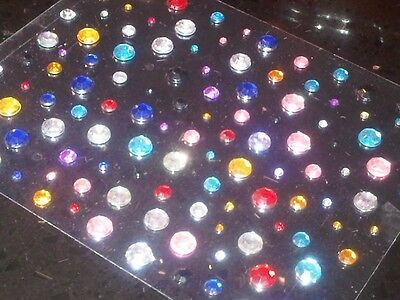 CraftbuddyUS 120 x 2mm 4mm 6mm Self Adhesive Diamante Gems Stick on Card Making