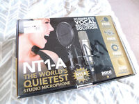 Rode NT1-A Condeser Microphone with shockmount and pop shield.