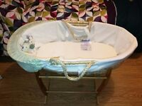 Baby unisex moses basket with stand