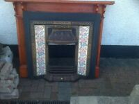 Cast iron fireplace with wooden surround