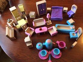 Wooden dolls house furniture + tea set