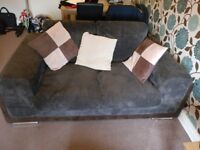 2 Seater Sofa and Foot Stool - Brown Fabric