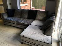 sofa non leather with chair and stool 10 months old, excellent condition in classy grey cloth