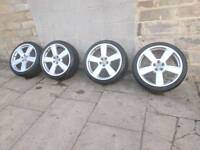 """Audi RS6 style 19"""" Alloy wheels and tyres 5x100 good condition"""