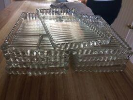 Vintage Clear cut glass, Rectangular, 3-Section, Crudite Serving Platter Plate Dishes. Set of 9