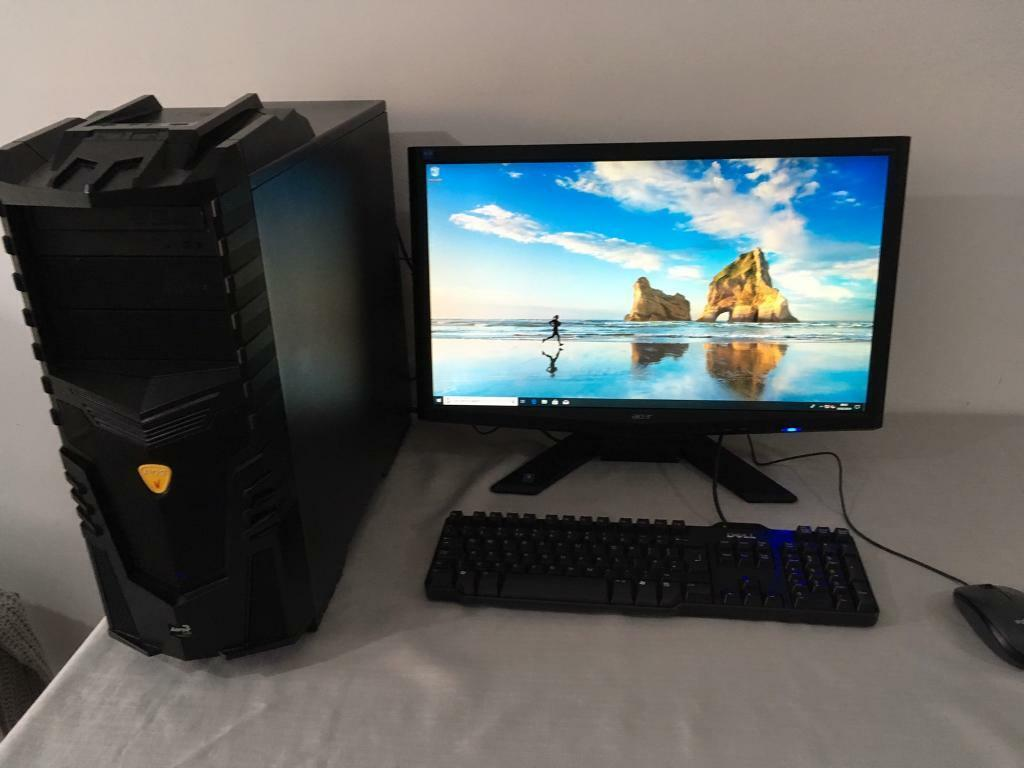 """AMD 8 Core Gaming PC GTX 1060 24"""" Monitor 