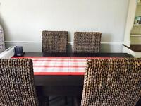 Mango wood table with 6 wicker chairs