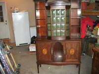 ANTIQUE WALNUT SIDEBOARD CHINA CABINET