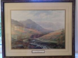 Three mounted and framed landscape prints