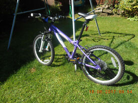 Girls Purple Carrera Luna Mountain Bike. 20 inch wheels. As good as new.