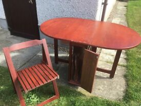 Small Table with 4 Folding Chairs