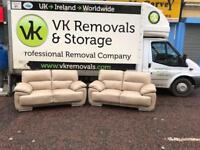 2 2 seater sofas in a thick cream leather Hyde(3 weeks old, bought at £1800! We need £399!