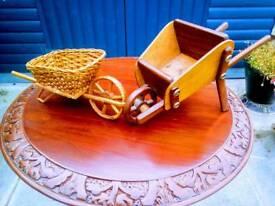 £5 only!!! Set of 2 Miniture Wooden Wheelbarrows