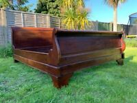 French Louis Handcrafted Solid Hardwood Sleigh 5ft King Size Bed Frame - Great Condition