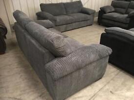 Brand new grey jumbo chord 3 + 3 seater sofa suite
