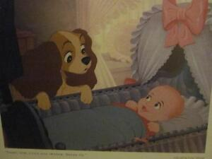 Set of 6 RARE Vintage Disney's Lady and the Tramp Lithographs