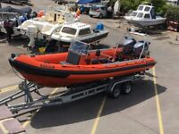 Tornado 7.5M with twin 150HP HPDI Yamaha outboards and Galvanised Indespension SRC10 Trailer.