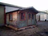 Log cabin 3.6m x 3.6m x 3.9m approx.