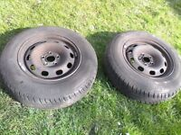 VW STEEL WHEELS X2 , NEW TYRES £25 EACH, audi, skoda, seat