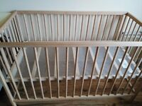 Baby cot with bed - hardly used, 2 adjustments. Bed included.