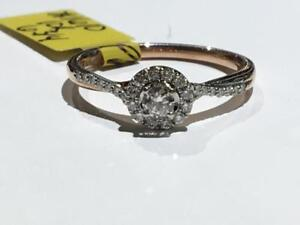#1610 10K ROSE & WHITE GOLD HALO STYLE ENGAGEMENT *SIZE 6 3/4* APPRAISED AT $1850.00 SELLING FOR $650.00!