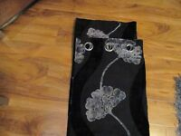 black velvet curtains with silver pattern chrome ringtops 66in wide x 90in drop
