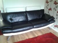 ITALIAN LEATHER 3 SEATER AND 2 SEATER CHAISE. BLACK AND WHITE LEATHER EXCELLENT CONDITION