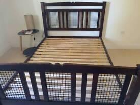 FREE Dark hardwood, pine and metal double bed frame