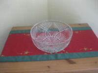 "Heavy lead crystal cut glass trifle / fruit bowl 9"" diameter - perfect"