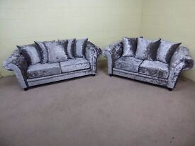 'CHELSEA' STEEL GREY CRUSHED VELVET 3&2 CHESTERFIELD STYLE SOFAS