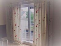 Curtains (2m l x 2.5m w), curtain pole (8ft) and roman blind (1m l x 1.3m w) £150