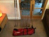 Golf clubs, full set of Swilken irons and woods, including bag