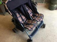 Grace Twin Double Pushchair Stroller Buggy Folding Side by Side Was £280