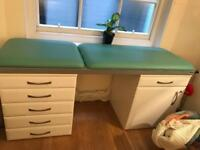 Massage/GP examination couch with drawers