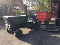 ATCO 830 Garden Tractor, cutter deck, powered grass collector, trailer and powered scarifier.