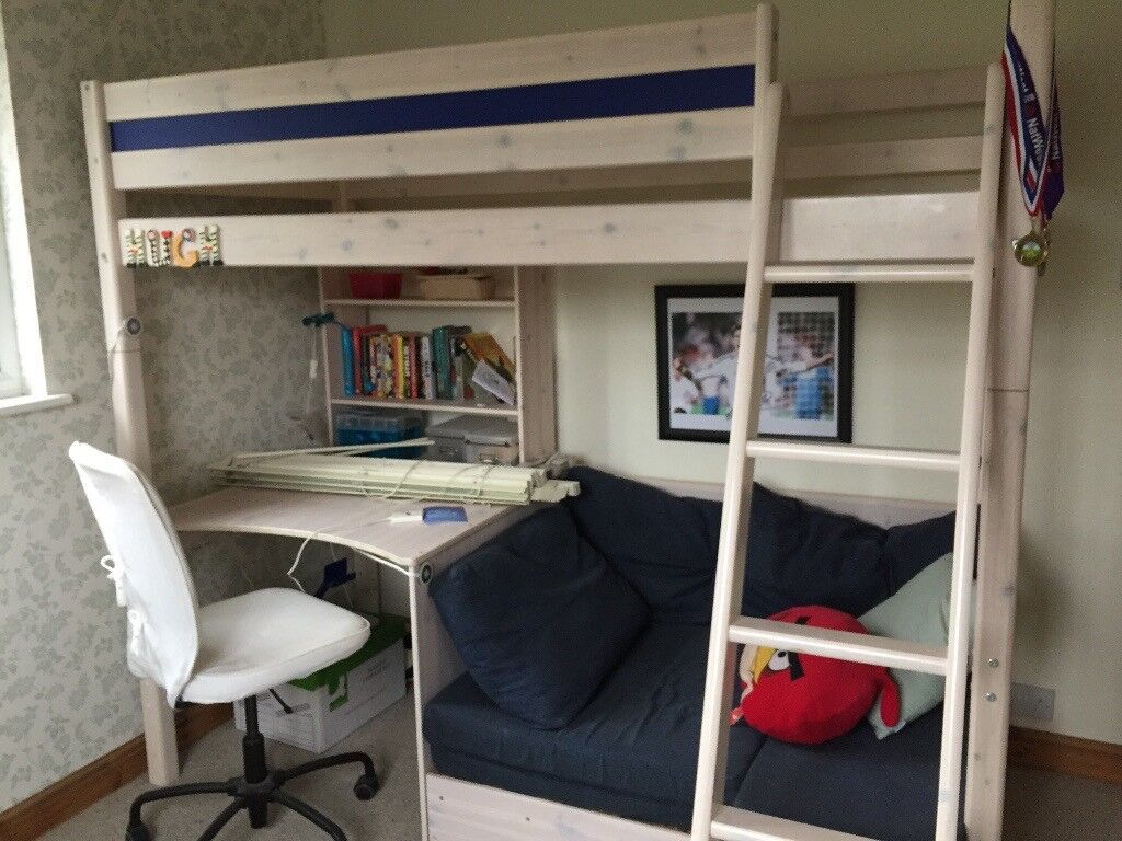 Bunk Bed High Bed With Desk And Sofa Underneath That Pulls Out To A