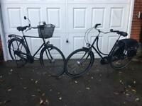 A lovely pair of his & hers Dutch bikes