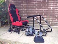 PC Racing/Flight simulator rig complete with Thrustmaster T100 wheel/pedals, T-Flight HOTAS etc