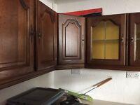 Dark wood kitchen units