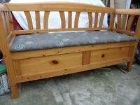 3 SEATER WOODEN BENCH WITH STORAGE