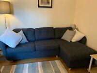 John Lewis Sofa Bed Arlo 5+ Seater with Storage Light Legs Navy