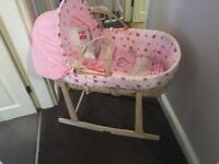 Clair de Lune Moses basket and stand plus bedding.